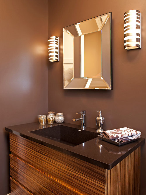 Contemporary Bathroom Idea In Minneapolis With An Integrated Sink,  Flat Panel Cabinets And Brown