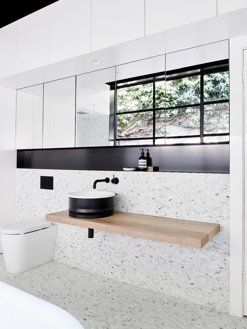 contemporary bathroom in melbourne with a freestanding tub mosaic tile and mosaic tile floors - Bathroom Designs Australia