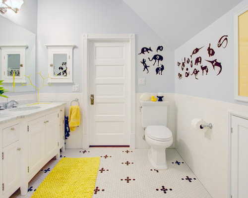 Example of a mid sized trendy kids  subway tile and white tile mosaic tile. Yellow Bathrooms   Houzz