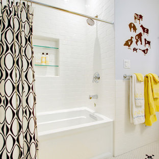 Alcove bathtub - mid-sized contemporary kids' subway tile and white tile mosaic tile floor alcove bathtub idea in San Francisco with white cabinets, gray walls, an undermount sink and marble countertops
