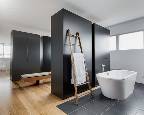 Design Ideas For An Expansive Modern Master Bathroom In Melbourne With  Flat Panel Cabinets,