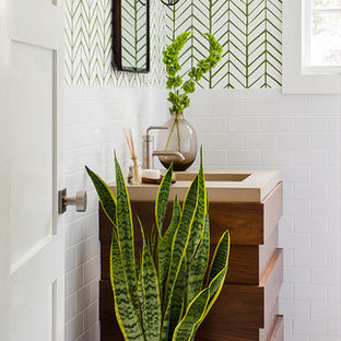 Example of a mid-sized transitional white tile bathroom design in Atlanta with multicolored walls