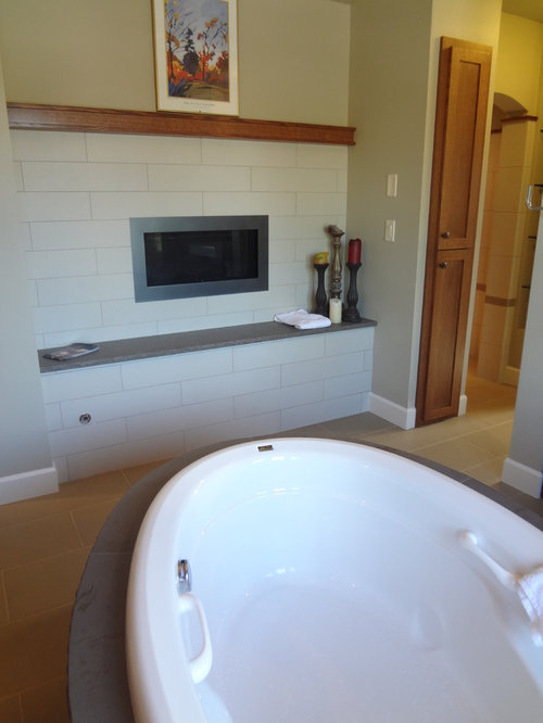 ... surrounds for fireplaces Bathroom Design Photos with a Pedestal Sink