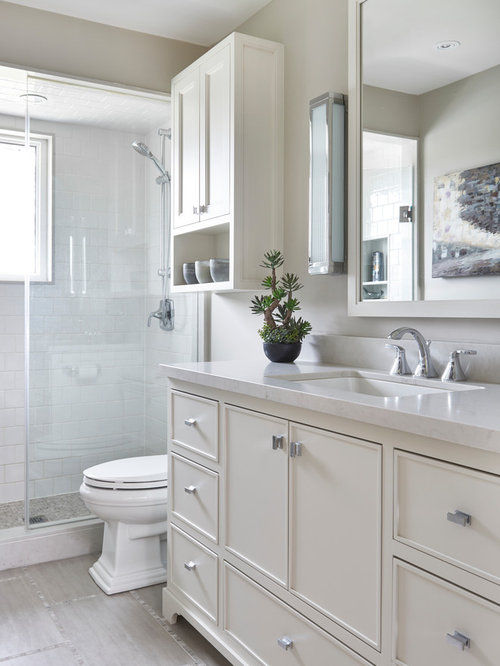 Mid-sized traditional white tile and ceramic tile ceramic floor and beige  floor alcove shower