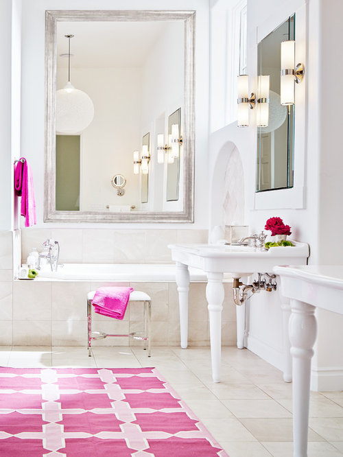 Pink and blue accents bathroom design ideas remodels photos for 8x4 bathroom design