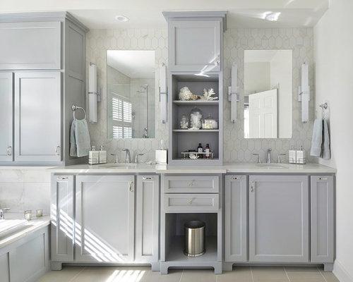 midsized master white tile and porcelain tile porcelain floor dropin bathtub