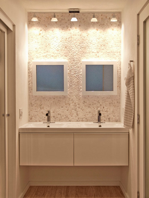 Inspiration For A Contemporary Bathroom Remodel In San Diego With Pebble Tile