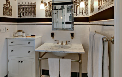 Black and White Bring Classic Style to a Bath