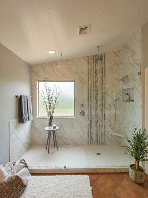 Houzz Contemporary Ensuite Bathroom With Terracotta