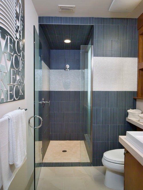 Contemporary blue tile alcove shower idea in Orlando & Curved Door Handle | Houzz Pezcame.Com