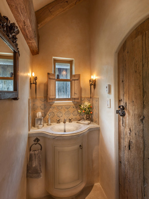 Small Powder Room Design Ideas, Remodels & Photos with Beige Cabinets