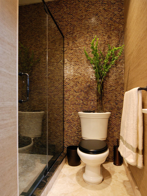 Tile behind toilet houzz for Small toilet room ideas