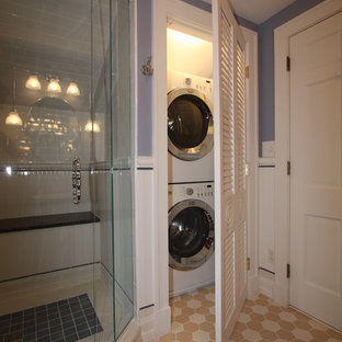 Example Of A Clic Bathroom Design In Cleveland Save Photo Washer Dryer