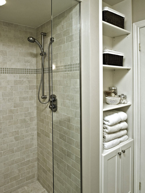 SaveEmail - Glazed Porcelain Wood Tile Shower Houzz