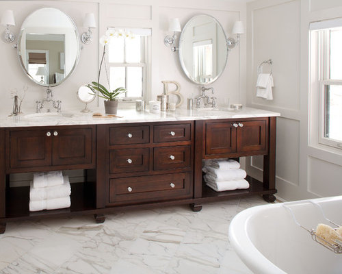 Example Of A Classic Bathroom Design In Denver With Marble Countertops And  White Countertops