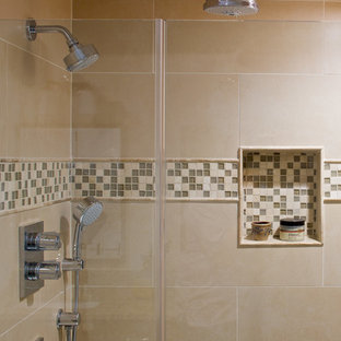 Example of a mid-sized classic master multicolored tile and porcelain tile slate floor bathroom design in New York with an undermount sink, recessed-panel cabinets, medium tone wood cabinets, granite countertops and white walls