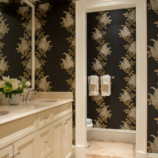Bathroom - traditional bathroom idea in Boston with an undermount sink, recessed-panel cabinets and beige cabinets
