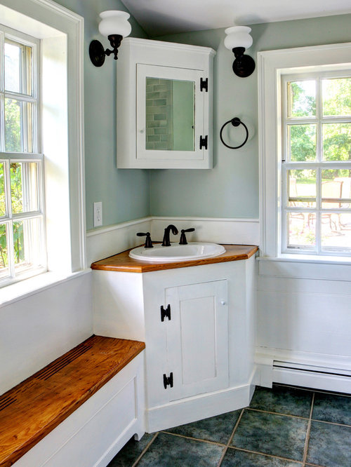 Master Bath With Corner Vanity And Double Sinks Transitional Bathroom