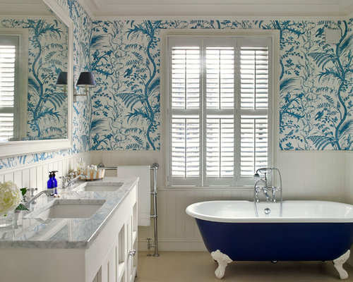 Wallpaper In Bathroom Home Design Ideas, Pictures, Remodel And Decor