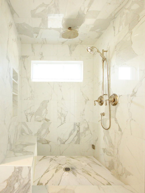 Example of a mid-sized classic master white tile and marble tile marble  floor and