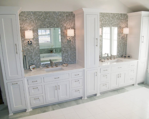 traditional mosaic tile bathroom idea in dallas with shaker cabinets