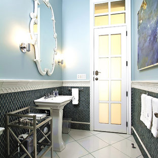 Elegant blue tile and mosaic tile bathroom photo in Phoenix with a pedestal sink