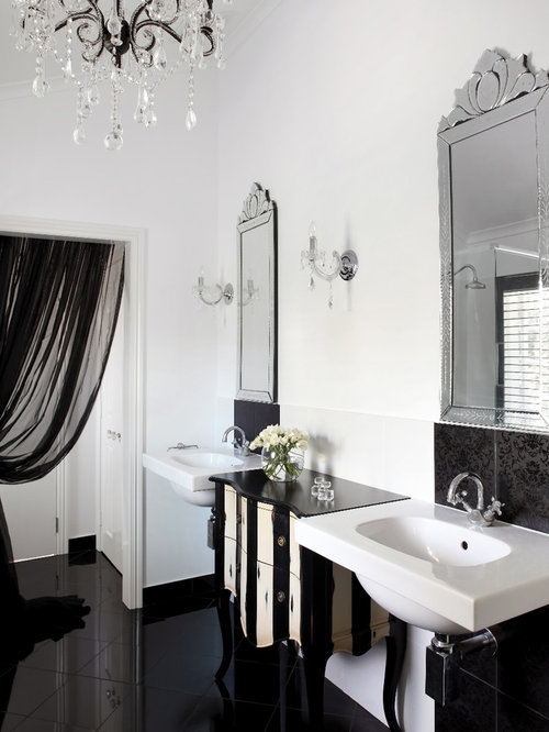 example of a classic black tile black floor bathroom design in brisbane with a wall