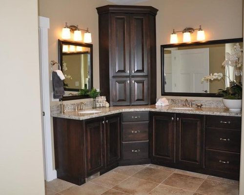 Double Vanity Bathroom Houzz corner double vanity | houzz