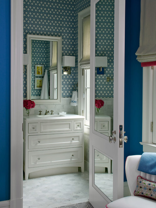 Example Of A Classic White Tile Bathroom Design In Chicago With An Integrated Sink Shaker