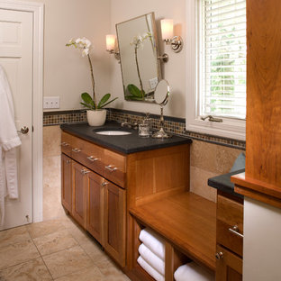 Design ideas for a traditional bathroom in Minneapolis with mosaic tile.
