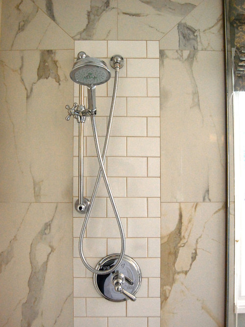 example of a classic bathroom design in other with subway tile