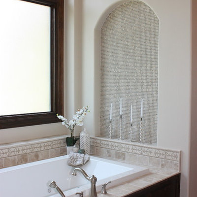 Example of a classic mosaic tile bathroom design in Austin with a niche