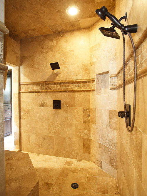 Best travertine tile shower design ideas remodel pictures houzz for Travertine tile bathroom ideas