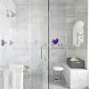 Inspiration for a timeless white tile and marble tile alcove shower remodel in Atlanta