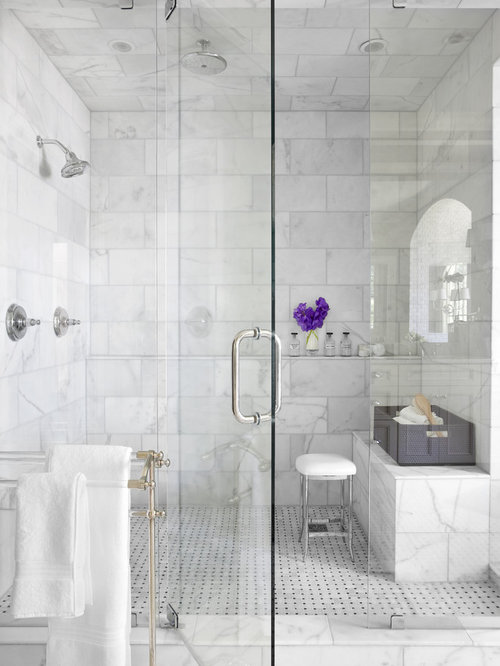 Inspiration For A Timeless White Tile And Marble Alcove Shower Remodel In Atlanta