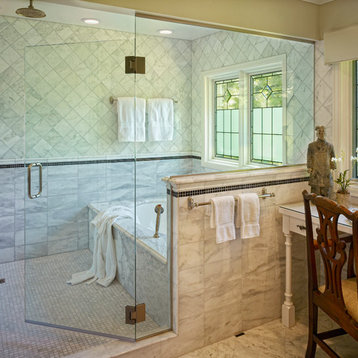 Traditional half wall bathroom design ideas pictures remodel amp decor