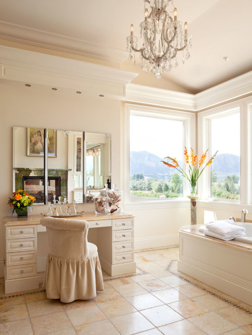 example of a classic bathroom design in denver with beige cabinets a drop in - Vanity Stools For Bathrooms