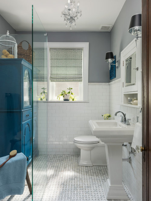 Small Traditional White Tile And Subway Tile Marble Floor And Gray Floor  Walk In Shower