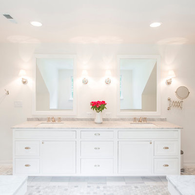 Example of a classic white tile and subway tile alcove shower design in Baltimore with an undermount sink, flat-panel cabinets and white cabinets
