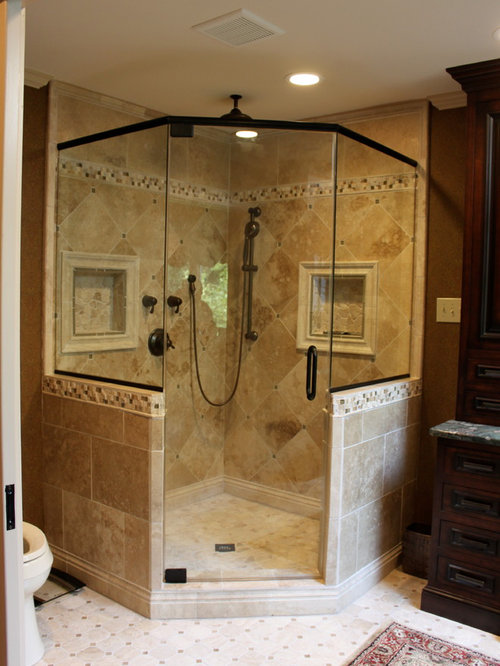 Badezimmer mit travertin ideen design bilder houzz - Badezimmer travertin ...