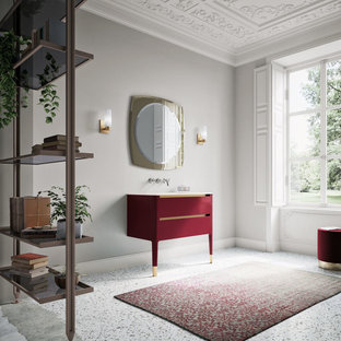 Traditional bathroom with small deep red vanity