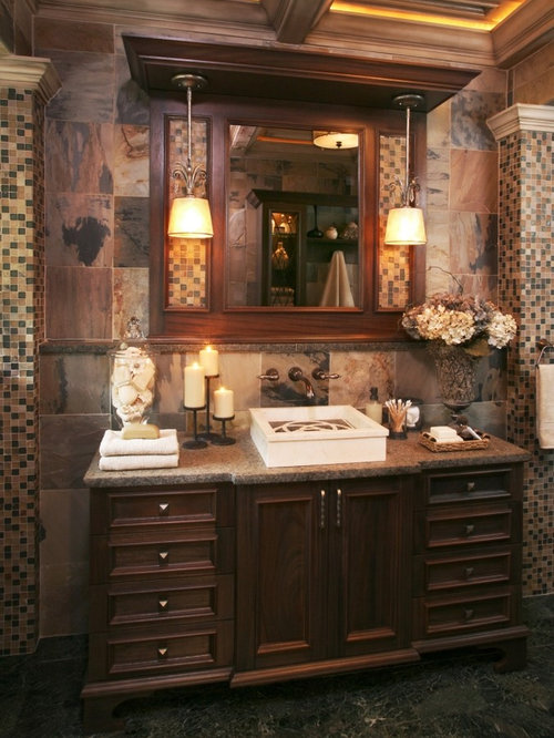 Example Of A Classic Bathroom Design In Detroit With A Vessel Sink
