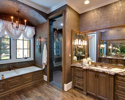 brown bathroom designs. Large traditional master subway tile dark wood floor and brown  bathroom idea in Orange County Gold And Tan Brown Bathroom Ideas Photos Houzz