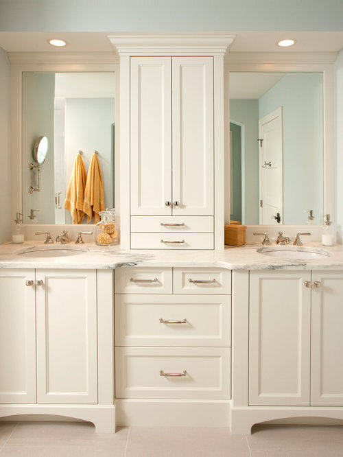 Cabinet between sink home design ideas pictures remodel for Jack and jill bathroom vanity