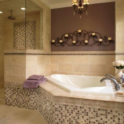 Elegant mosaic tile bathroom photo in Detroit