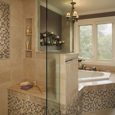Example of a classic mosaic tile bathroom design in Detroit