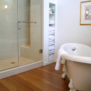 Mid Sized Elegant Master Beige Tile And Stone Bamboo Floor Brown Bathroom