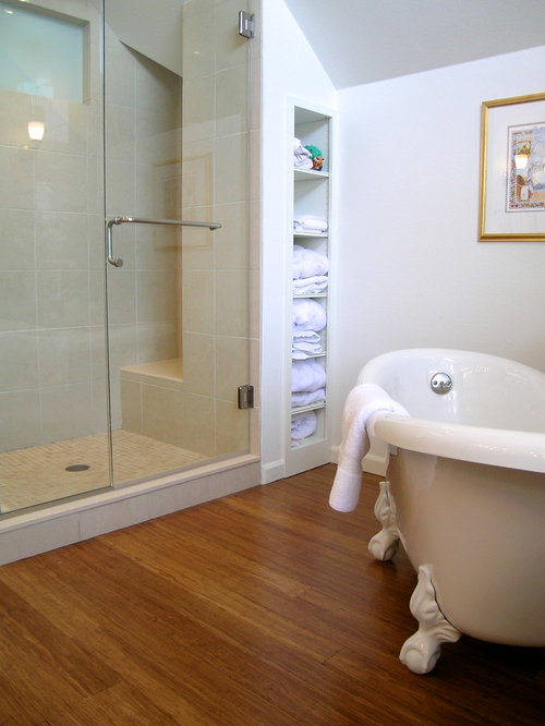 Mid Sized Elegant Master Beige Tile And Stone Tile Bamboo Floor And Brown Floor  Bathroom