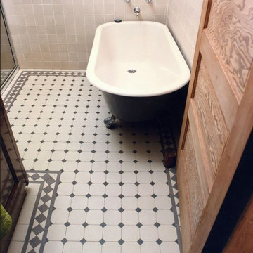 Traditional Gray Bath with Winckelmans Dot and Octagon Tile