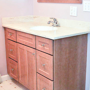 Traditional Handicap accessible bath remodelw/brownstain vanity&medicine cabinet